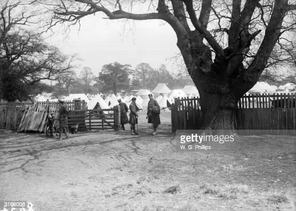 Men of the London Scottish 2nd Battalion at a training camp in Saffron Walden Essex