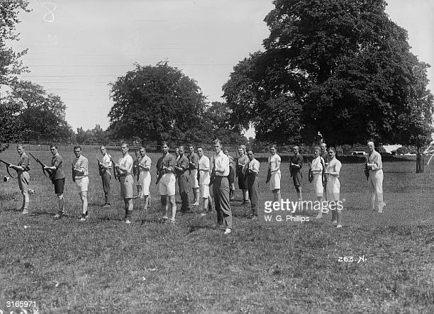 Men of the London Scottish 2nd Battalion on rifle drill at a training camp in Saffron Walden Essex