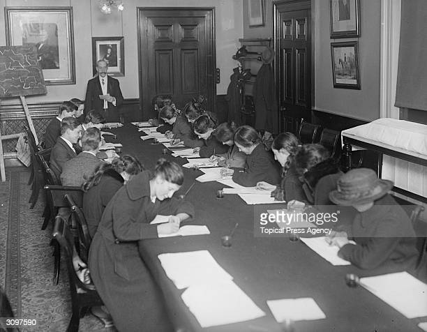 London North West Railway staff during a shorthand class