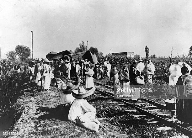 A derailed train during the Mexican Revolution