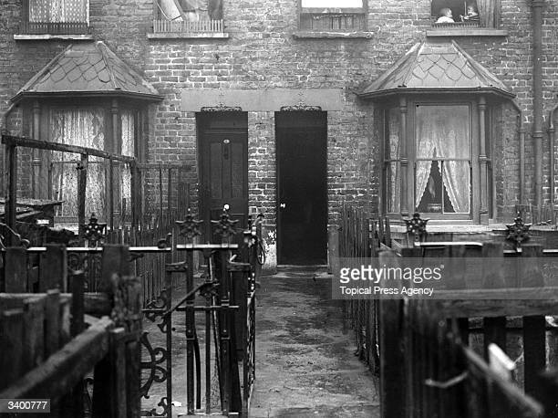 Slum housing in Crossland Square Bethnal Green London