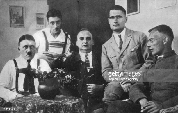 Adolf Hitler receives visitors including Rudolf Hess during his imprisonment in Landsberg jail