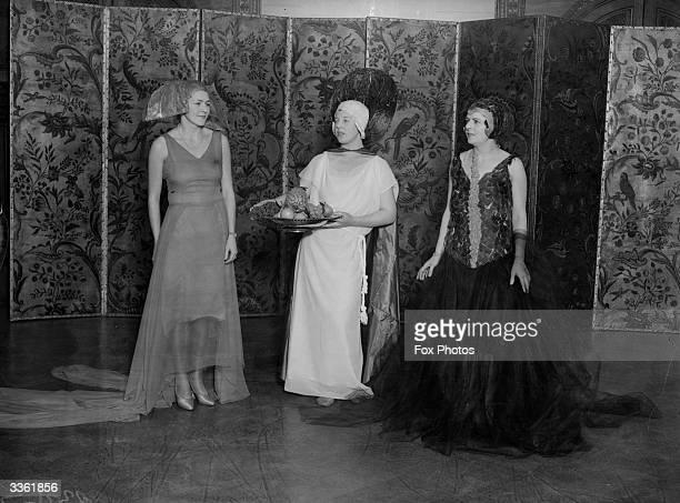 In costume for a Santa Claus Ball Mrs Ian Carslake Betty Hutton Mrs de Winton Wills