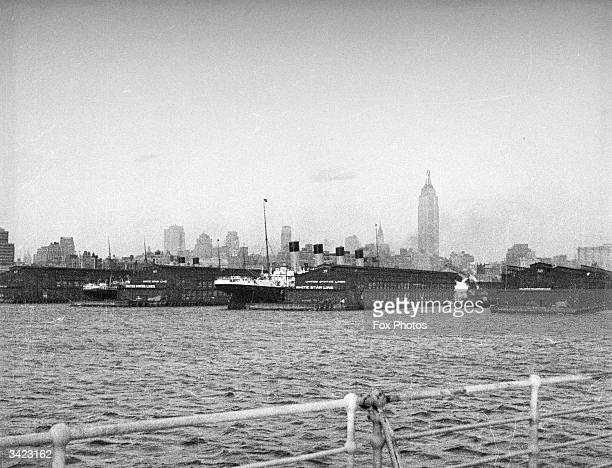 The White Star liner RMS Olympic in dock at New York harbour