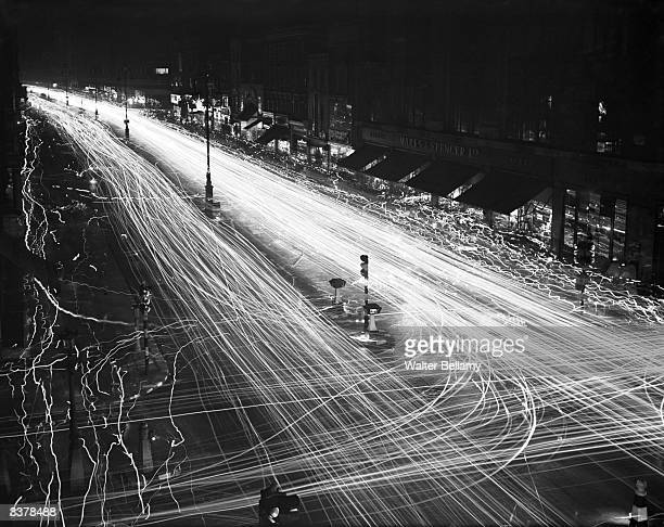Oxford Street London in the blackout WW II Wiggly lines show the passage of pedestrians holding torches