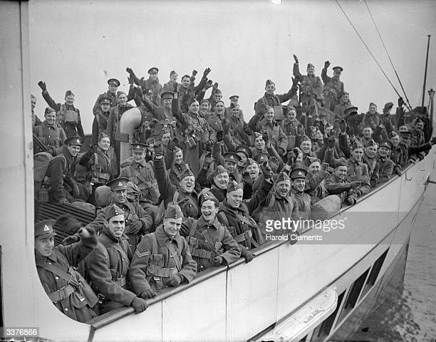 Soldiers of the Canadian Active Service Force coming ashore in a tender in WW II