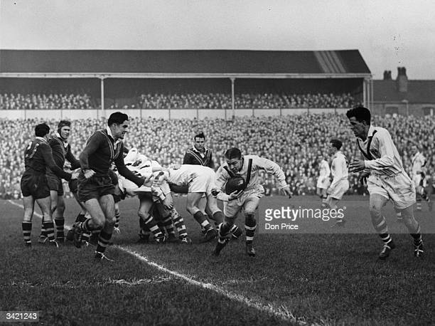 Great Britain break away from a scrum during the 2nd Rugby League test match between Australia and Great Britain at Swinton Original Publication...