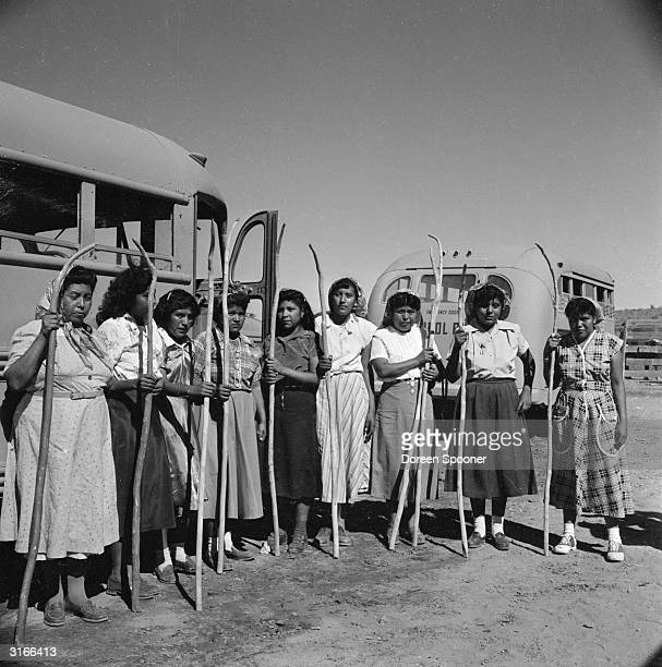 Native American women of the Popago tribal reserve in Sells southern Arizona line up for a game of Taka