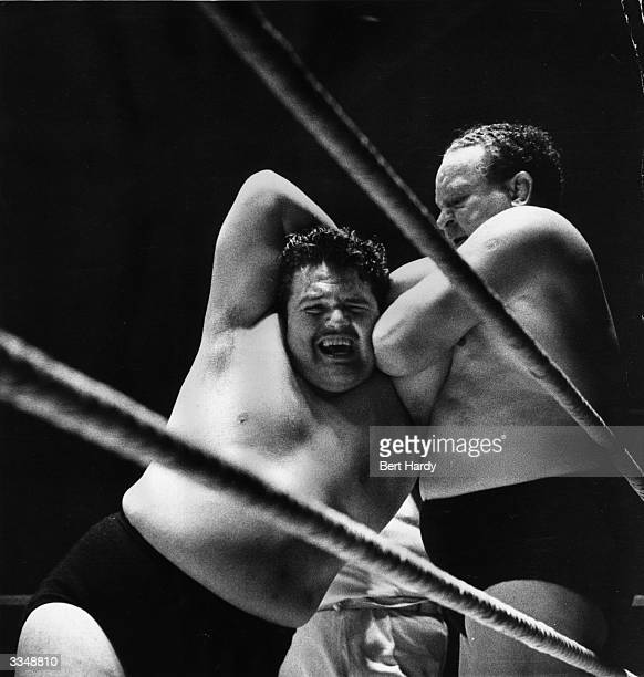 Two wrestlers Hussey and Knight getting to grips with each other during an International FreeStyle Wrestling Concert at Belle Vue Manchester The...