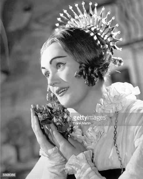 Australian soprano Joan Sutherland in costume for an opera