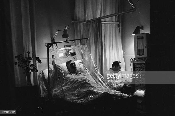 A patient being prepared for a biopsy of the small intestine at Hammersmith Hospital London