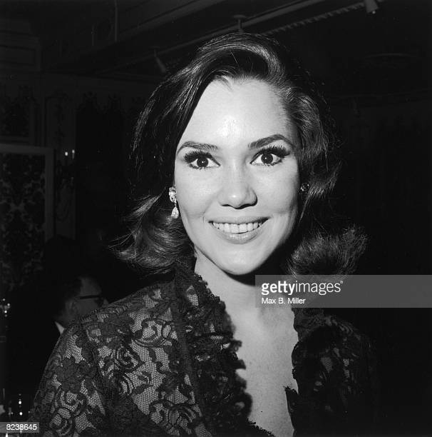 Headshot of American actor Mary Ann Mobley at a Hollywood event California Mobley is wearing a black lace dress