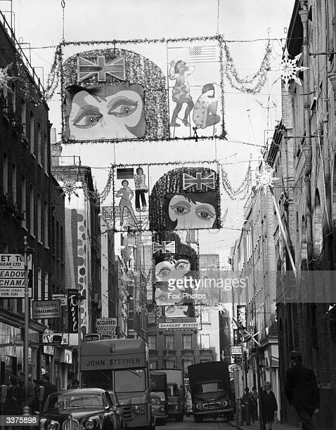Christmas decorations in London's fashionable Carnaby Street