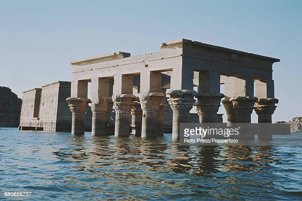 December 1968 view of Trajan's Kiosk part of the temple complex of Philae located on the island of Philae in the River Nile in Egypt and flooded by...