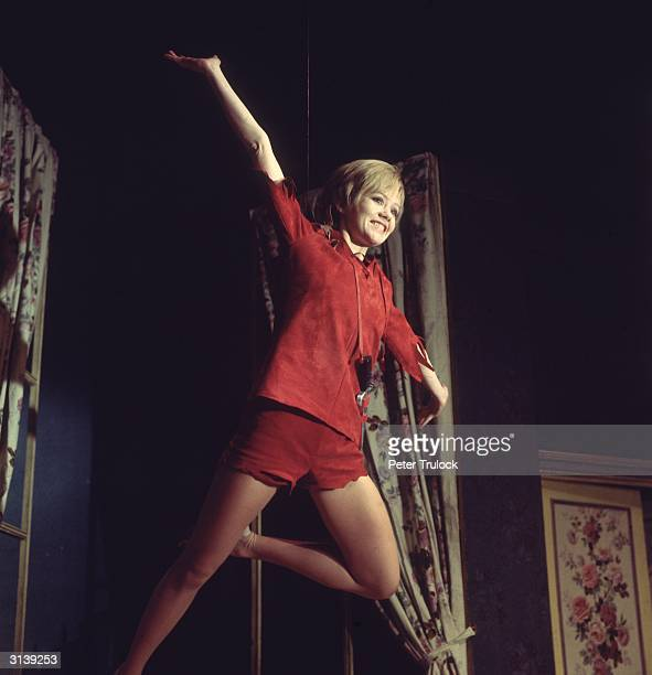 English actress Hayley Mills plays the flying hero in a production of 'Peter Pan' at the New Victoria Theatre London