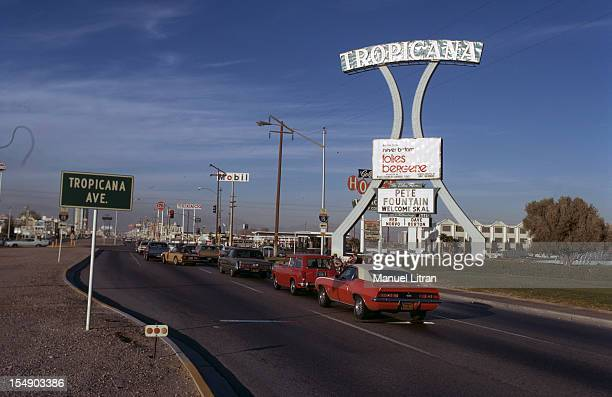 USA December 1971 Las Vegas On the 'Strip' road bordered with palaces and casinos the 'Tropicana'