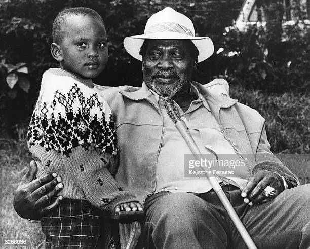 President of Kenya Jomo Kenyatta with his son