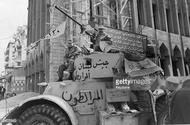 Guerrilla fighters on a tank in a street in Beirut during Lebanon's ninemonthold civil war before peace discussions