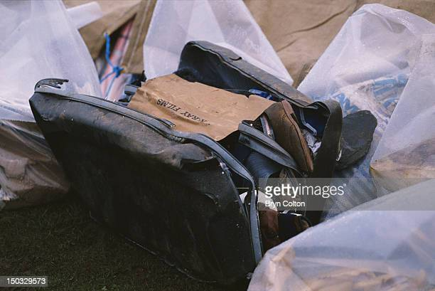 Broken suitcase found in the wreckage of Pan Am Flight 103 after it crashed onto the town of Lockerbie in Scotland, on 21st December 1988. A piece of...