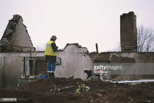 A Raynet radio operator assists with communications after Pan Am Flight 103 crashed onto the town of Lockerbie in Scotland on 21st December 1988 The...