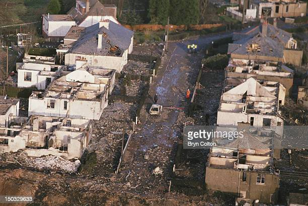 Some of the destruction caused by Pan Am Flight 103 after it crashed onto the town of Lockerbie in Scotland on 21st December 1988 The Boeing 747...