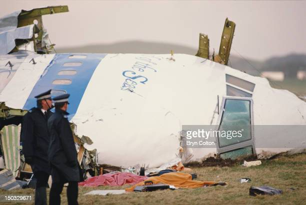 Some of the wreckage of Pan Am Flight 103 after it crashed onto the town of Lockerbie in Scotland on 21st December 1988 The Boeing 747 'Clipper Maid...