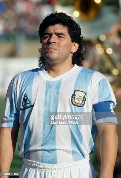 21 December 1989 Cagliari International Football Friendly Match Italy v Argentina Diego Maradona captain of Argentina