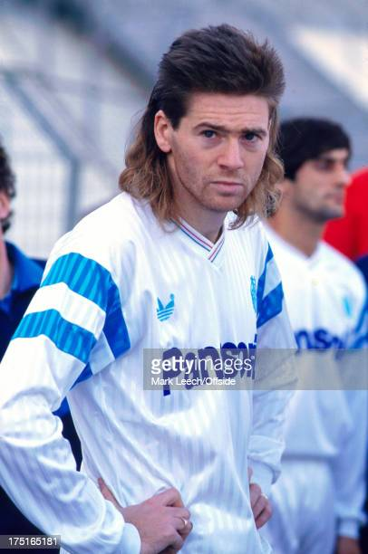 December 1989 - French Football - Marseille v Nice - Chris Waddle waits with his hands on his hips before the match, displaying his mullet hairstyle.