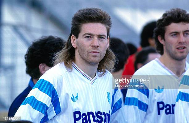 December 1989 - French Football - Marseille v Nice - Chris Waddle waits before the match, displaying his mullet hairstyle.