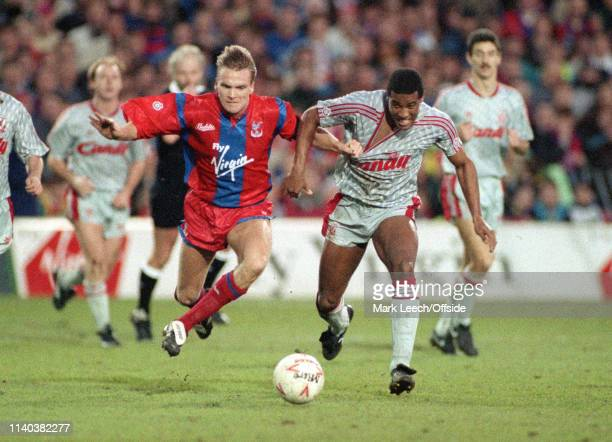 30 December 1990 Crystal Palace v Liverpool English Football Division One London Geoff Thomas of Crystal Palace and John Barnes of Liverpool battle...