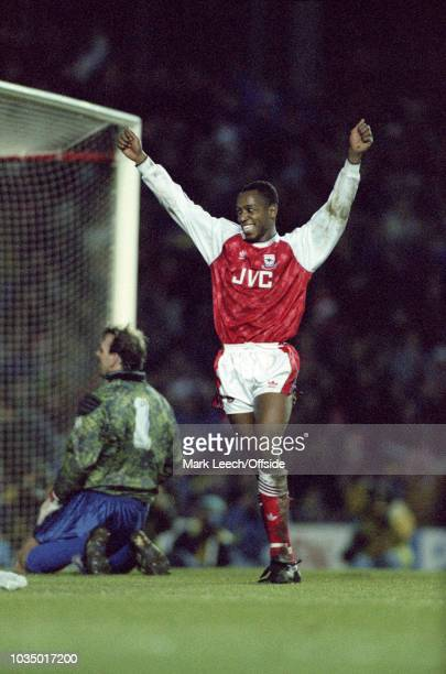 21 December 1991 Football League Division One Arsenal v Everton Ian Wright celebrates one of his four goals for Arsenal