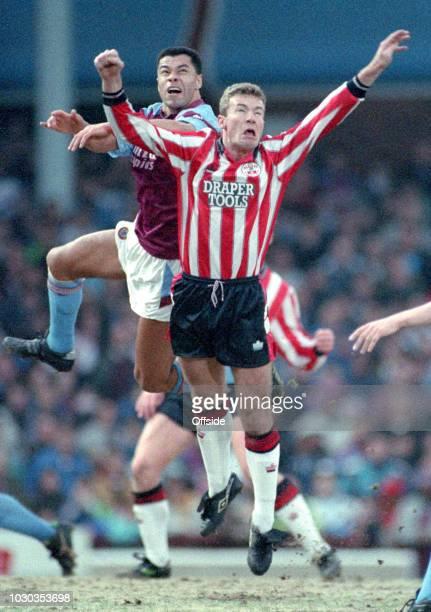 28 December 1991 Football League Division One Aston Villa v Southampton FC Paul McGrath of Villa out jumps Alan Shearer of Southampton