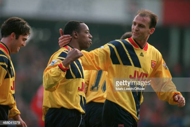 27 December 1993 Premier League Football Swindon Town v Arsenal Arsenal goalscorer Ian Wright is congratulated by Steve Bould