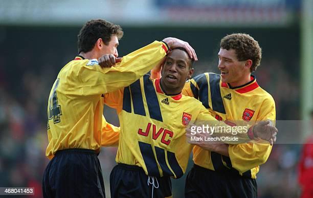 27 December 1993 Premier League Football Swindon Town v Arsenal Arsenal goalscorer Ian Wright is congratulated by Martin Keown and John Jensen