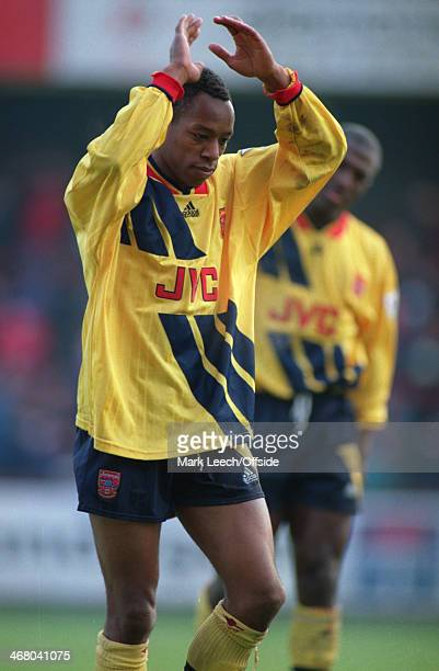 27 December 1993 Premier League Football Swindon Town v Arsenal Ian Wright of Arsenal applauds