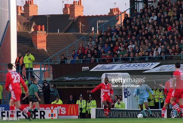 03 December 1994 FA Premier League Football Coventry City v Liverpool Fans watch the match from the seating at Highfield Road with the chimneys and...