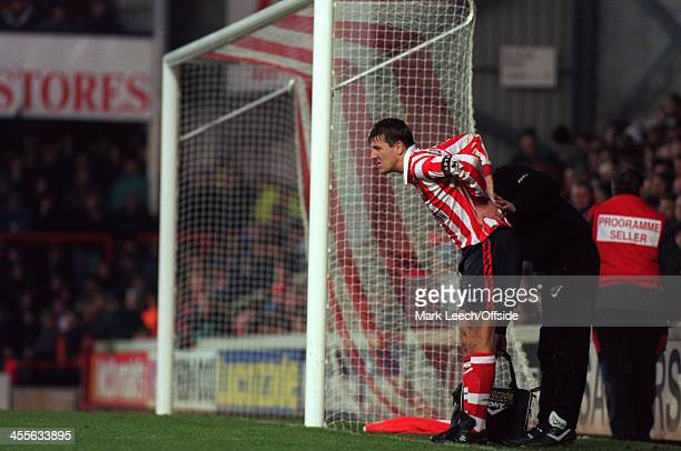 09 December 1995 Premiership Southampton FC v Arsenal FC Matt Le Tissier of Southampton receives treatment for an injury