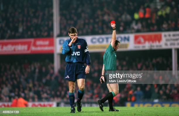 09 December 1995 Premiership Southampton FC v Arsenal FC Tony Adams is sent off for a rash tackle by referee Paul Danson