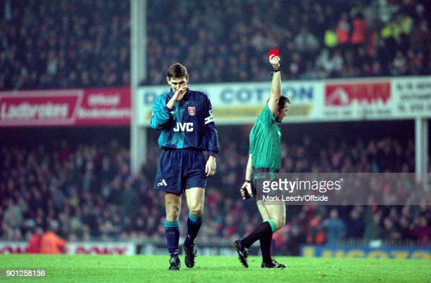 Premier League Football Southampton v Arsenal Tony Adams of Arsenal is shown the red card by referee Paul Danson