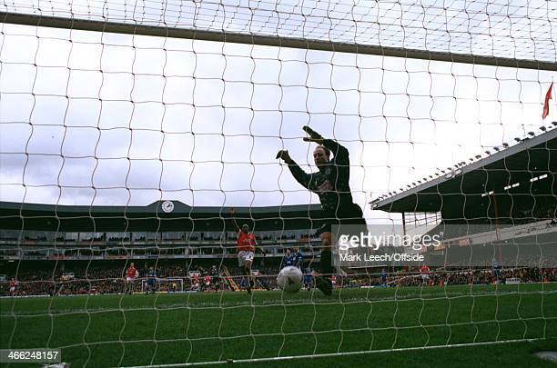 December 1997 - Premiership - Arsenal v Leicester City - Goalkeeper Kasey Keller of Leicester tries to stop the ball going in to his goal after...