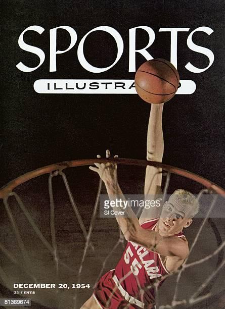 December 20 1954 Sports Illustrated Cover College Basketball Aerial portrait of Santa Clara Ken Sears in action taking hook shot Santa Clara CA...