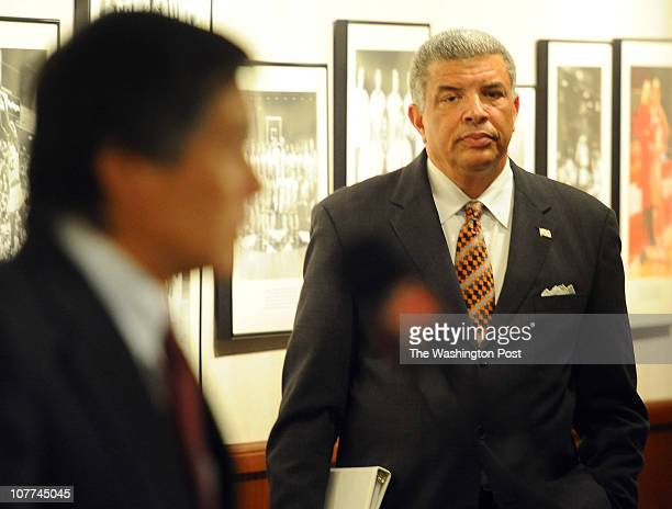 Wallace D Loh President of University of Maryland College Park addresses the media at a press conference announcing the buyout of head football coach...