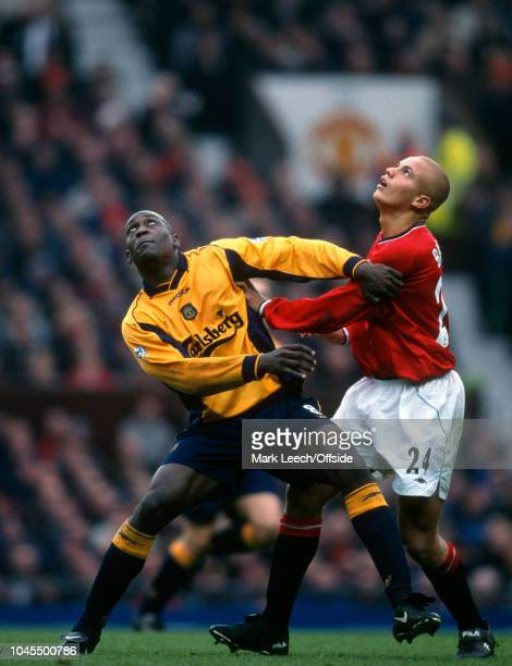 December 2000 - Premier League Football - Manchester United v Liverpool - Emile Heskey of Liverpool and Wes Brown of United - .
