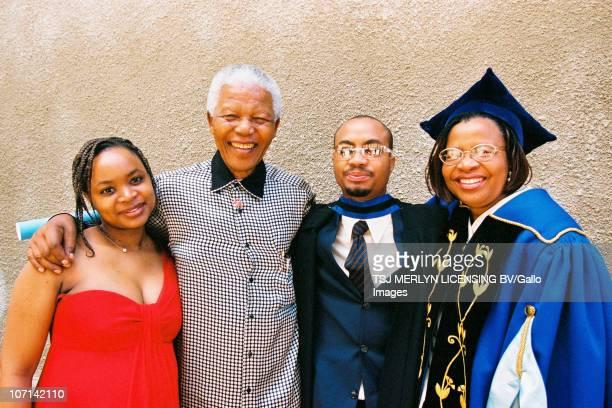 Josina Machel Nelson Mandela Malenga Machel and Graca Machel at Malenga�s graduation ceremony at UCT