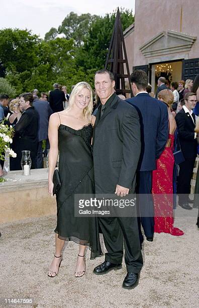 December 2002 South Africa South African swimmer Charlene Wittstock pictured with Andre Snyman at the wedding of Springbok rugby player Joost van der...