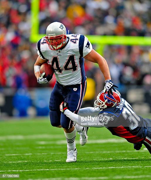 New England Patriots' fullback Heath Evans gains 12 yards in the first quarter against the Buffalo Bills at Ralph Wilson Stadium in Orchard Park NY...