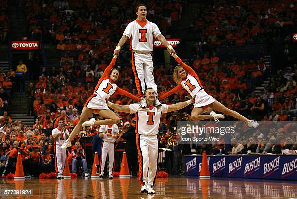 University of Illinois cheerleaders do a balancing act during a timeout in the first half The University of Missouri and the University of Illinois...