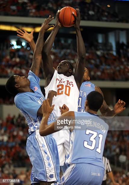 Texas forward Alexis Wangmene goes to the basket on UNC forward Ed Davis during the University of Texas Longhorns 10390 victory over the University...