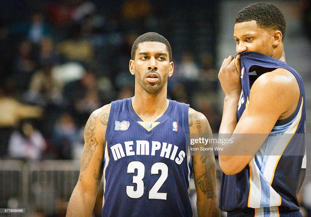 Memphis' O.J. Mayo (32) and Rudy Gay in Atlanta Hawks 112-109 victory over the Memphis Grizzlies at Philips Arena in Atlanta, GA.