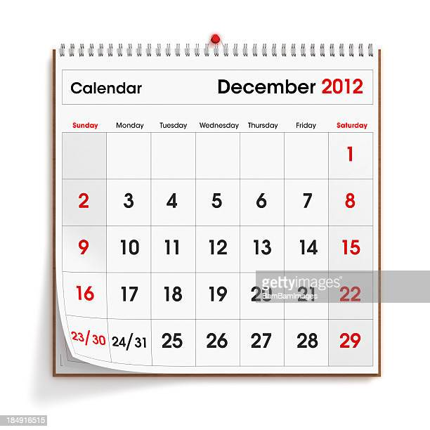 Calendário de parede de Dezembro de 2012